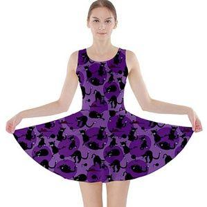 ⭐🆕Purple black cat fit flare dress